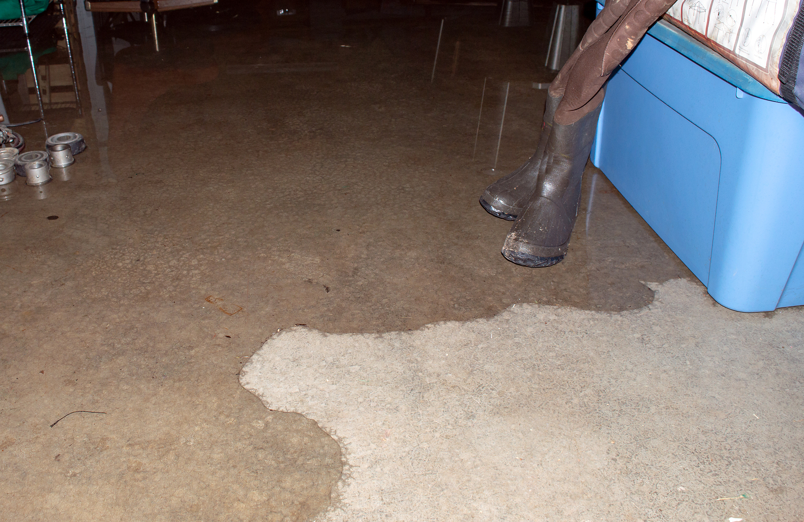 Water expands in flooded basement